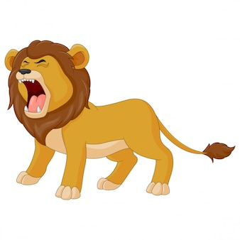 Dessin animé le lion rugit