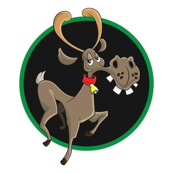 Le dessin animé de logo moose mignon souriant
