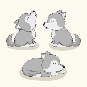 Dessin animé de loup animaux mignons