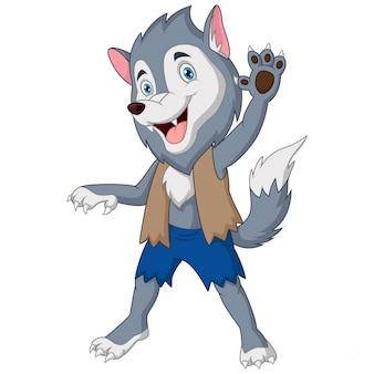 Dessin animé le loup-garou agitant la main