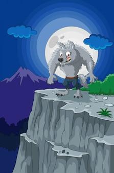 Dessin animé loup-garou sur la falaise