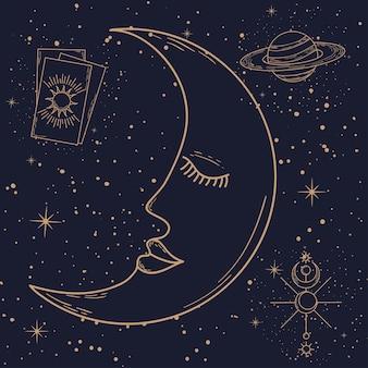 Dessin animé lune et icônes astrologiques