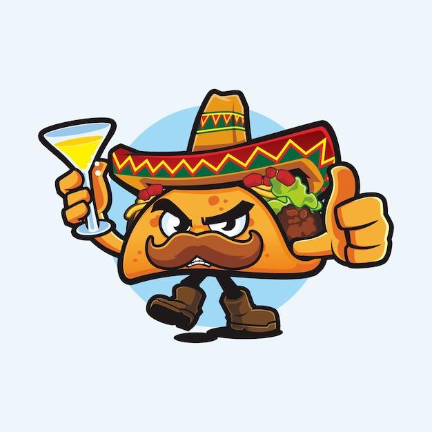 Dessin animé m. taco avec le pouce vers le haut et boire le dessin vectoriel de mascotte
