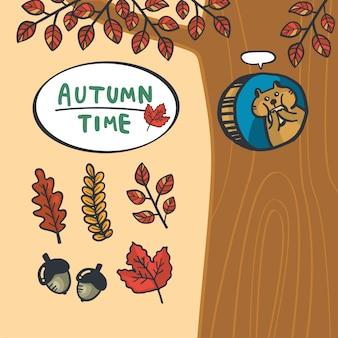 Dessin animé main dessin écureuil mignon et fond d'automne
