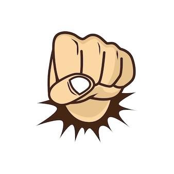 Dessin animé de la main de poing