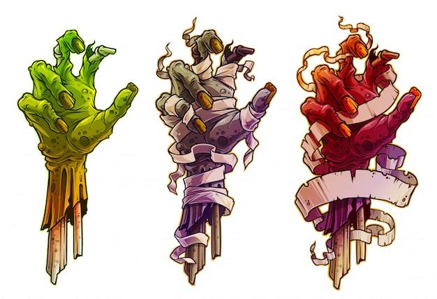 Dessin animé de mains de zombie halloween avec un bandage