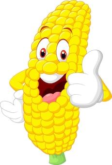 Dessin animé de maïs heureux abandonnant le pouce
