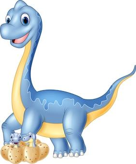 Dessin animé maman et bébé dinosaure à couver