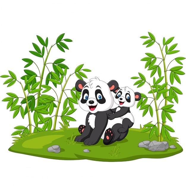 Dessin animé maman et bébé panda dans le bambou