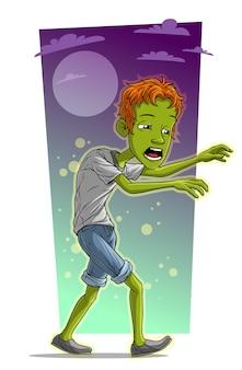 Dessin animé marchant personnage de garçon zombie fatigué