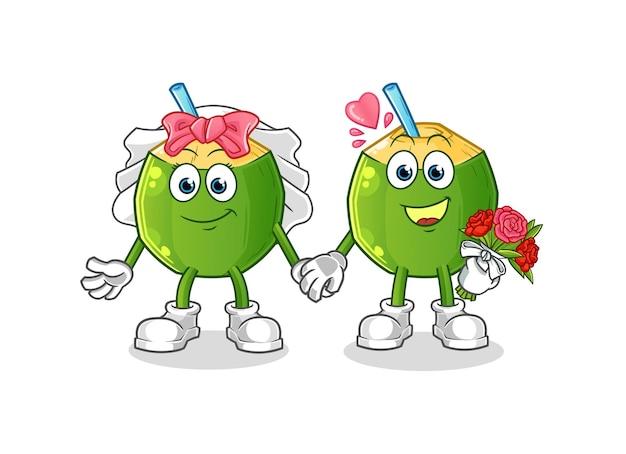 Le dessin animé de mariage de boisson de noix de coco. mascotte de dessin animé