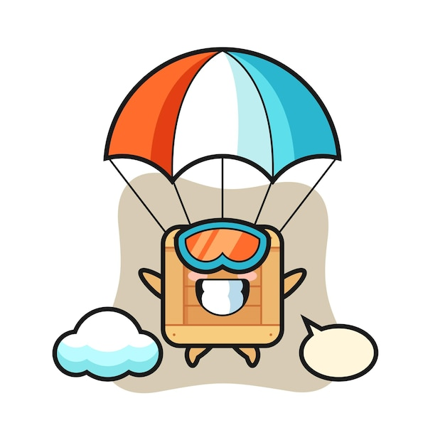 Le dessin animé de mascotte de boîte en bois saute en parachute avec un geste heureux, un design de style mignon pour un t-shirt, un autocollant, un élément de logo