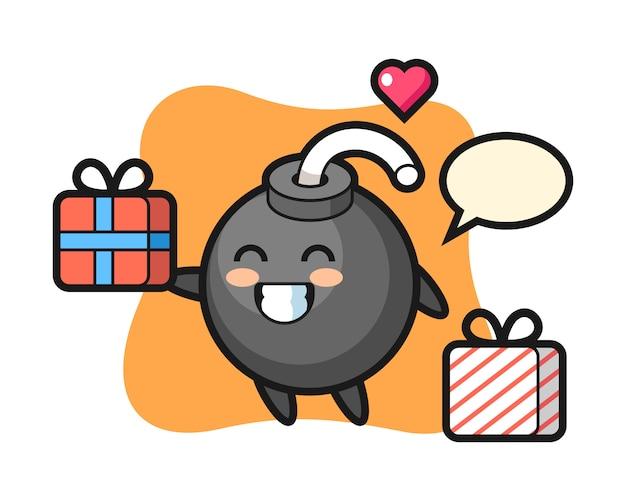 Dessin animé mascotte bombe donnant le cadeau