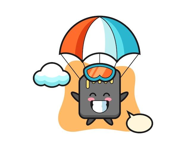 Le dessin animé de mascotte de carte sd fait du parachutisme avec un geste heureux, un design de style mignon pour un t-shirt
