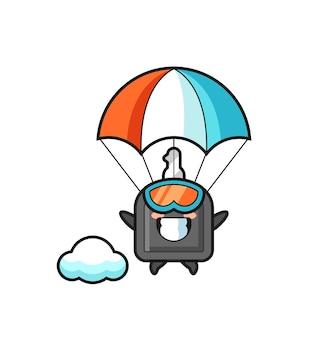 Le dessin animé de mascotte de clé de voiture saute en parachute avec un geste heureux, un design de style mignon pour un t-shirt, un autocollant, un élément de logo