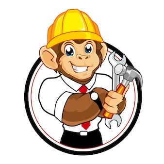 Dessin animé de mascotte de constructeur de singe