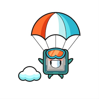 Le dessin animé de la mascotte du processeur saute en parachute avec un geste heureux, un design de style mignon pour un t-shirt, un autocollant, un élément de logo