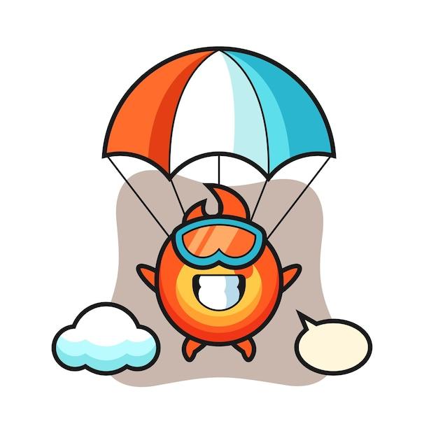 Le dessin animé de mascotte de feu saute en parachute avec un geste heureux, un design de style mignon pour un t-shirt, un autocollant, un élément de logo