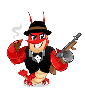 Dessin animé de mascotte gangster écrevisses
