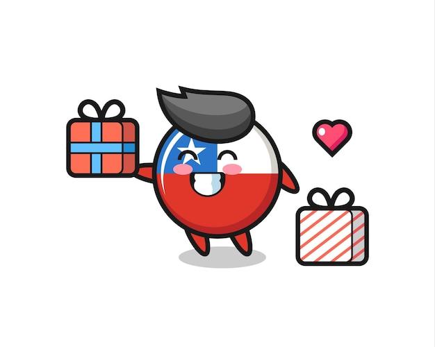 Dessin animé de mascotte d'insigne de drapeau du chili donnant le cadeau, conception de style mignon pour t-shirt, autocollant, élément de logo