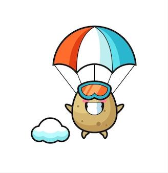 Le dessin animé de mascotte de pomme de terre saute en parachute avec un geste heureux, un design de style mignon pour un t-shirt, un autocollant, un élément de logo