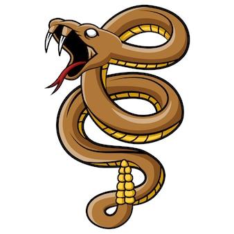 Dessin animé mascotte de serpent vipère effrayant