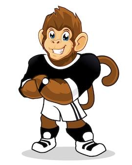 Dessin animé de mascotte de sport de singe en vecteur