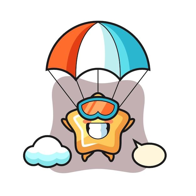 Le dessin animé de la mascotte star saute en parachute avec un geste heureux, un design de style mignon pour un t-shirt, un autocollant, un élément de logo