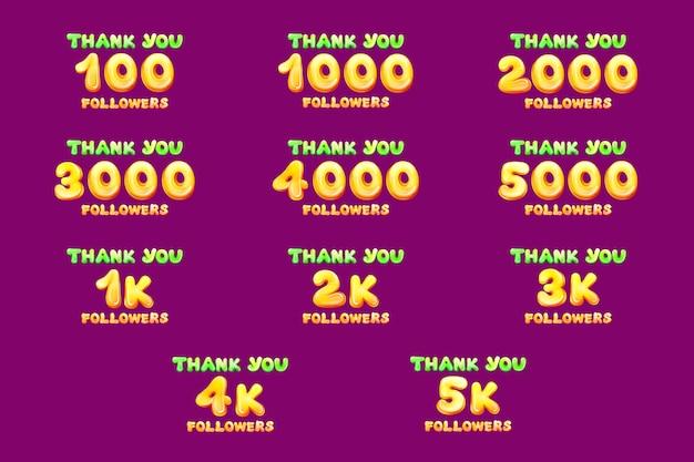 Dessin animé merci ensemble de numéros de suiveurs.