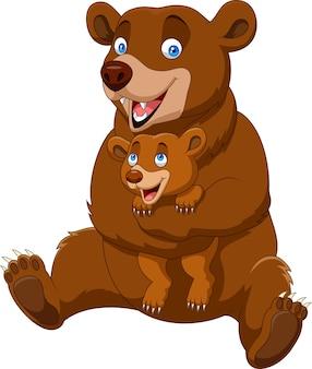 Dessin animé mère et bébé ours brun