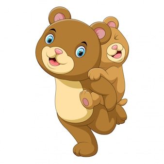 Dessin animé mère et bébé ours