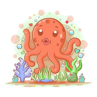 Le dessin animé de la mère grosse pieuvre a six pattes