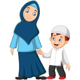 Dessin animé mère musulmane avec son fils