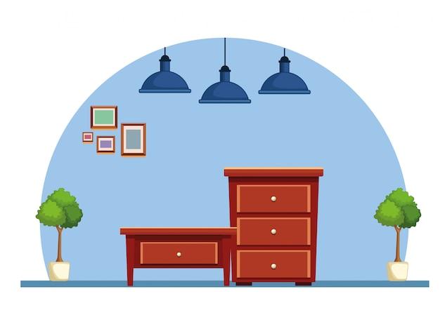 Dessin animé de meubles en bois