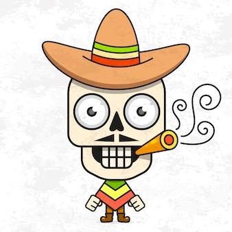 Dessin animé mexicain sugar skull vector illustration pour dia de los muertos. crâne masculin mignon