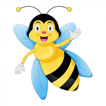 Dessin animé mignon abeille agitant la main