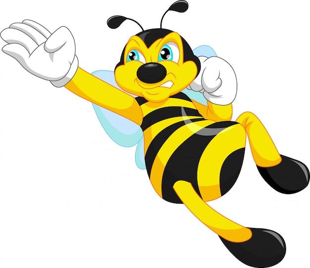 Dessin animé mignon d'abeille posant