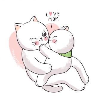 Dessin animé mignon adorable mère et bébé chat s'embrassant.