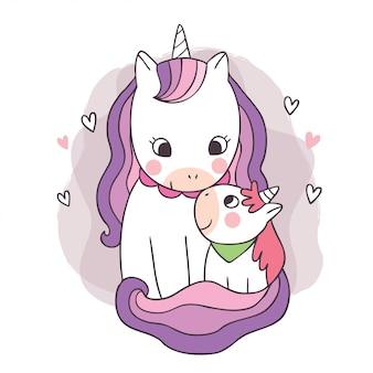 Dessin animé mignon adorable mère et bébé licorne s'embrassant