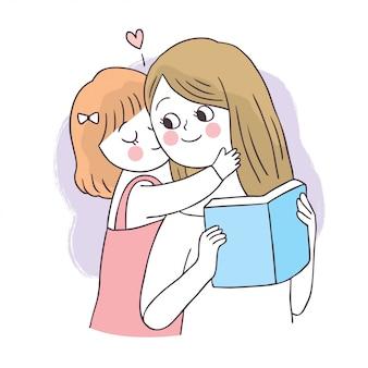 Dessin animé mignon adorable mère et fille lisant le livre.