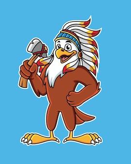 Dessin animé mignon aigle dans des vêtements indiens tenant une hache.