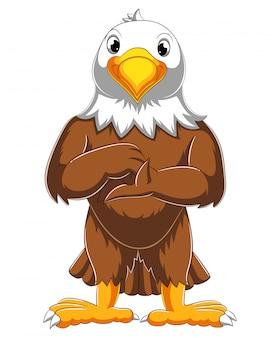 Dessin animé mignon aigle posant d'illustration