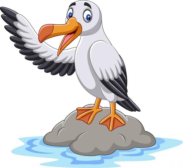 Dessin animé mignon albatros agitant