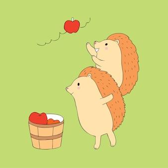Dessin animé mignon amis hérisson et vecteur de pomme.