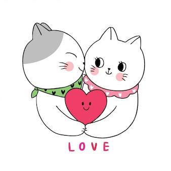 Dessin animé mignon amoureux des chats blancs de la saint-valentin s'embrassant.