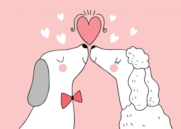 Dessin animé mignon amoureux de la saint-valentin chiens baiser vecteur.