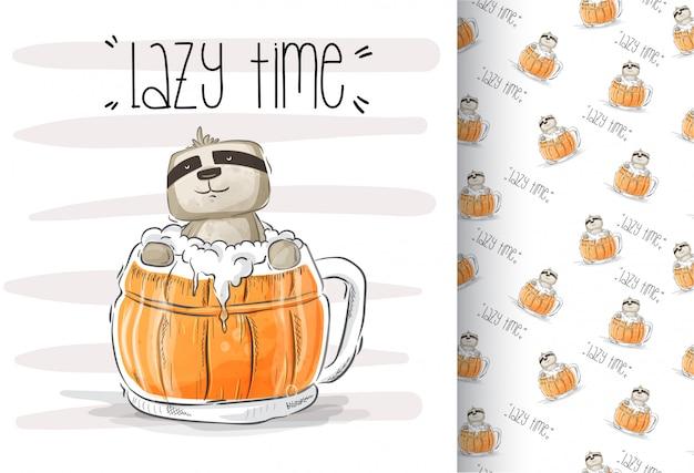 Dessin animé mignon animal paresseux avec boire de la bière
