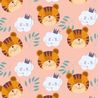 Dessin animé mignon animaux personnages tigre visages nuages nuages fond