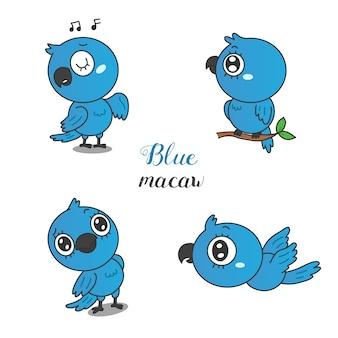 Dessin animé mignon ara bleu.