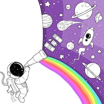 Dessin animé mignon d'astronaute
